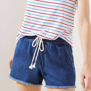 Loft cotton linen drawstring short in dark indigo